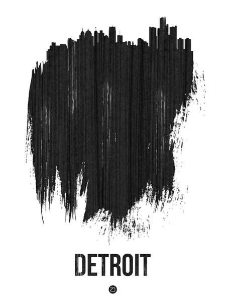 Country Mixed Media - Detroit Skyline Brush Stroke Black by Naxart Studio