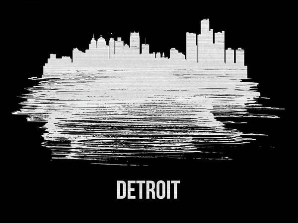 Country Mixed Media - Detroit Skyline Brush Stroke White by Naxart Studio