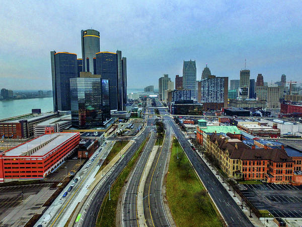Photograph - Detroit Skyline Dji_0200 by Michael Thomas