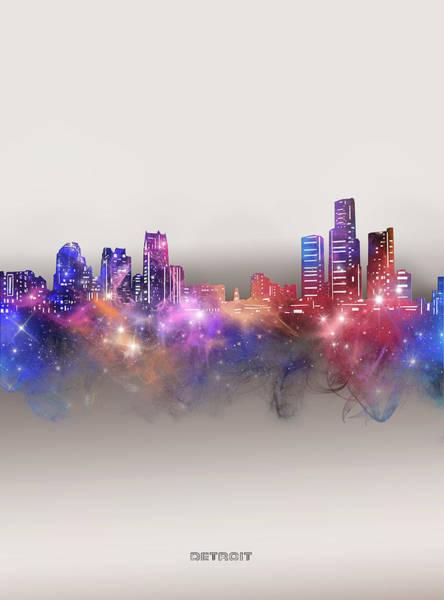 Wall Art - Digital Art - Detroit Skyline Galaxy by Bekim M