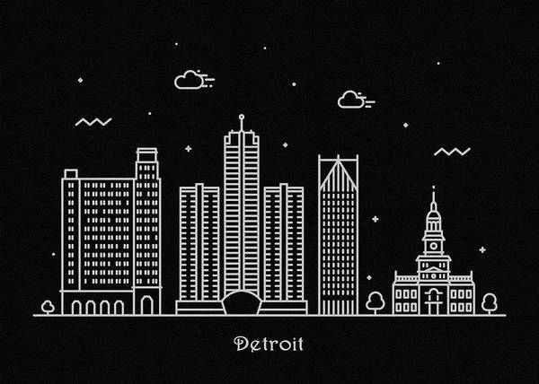 Wall Art - Drawing - Detroit Skyline Travel Poster by Inspirowl Design