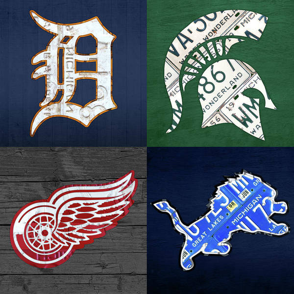 Wall Art - Mixed Media - Detroit Sports License Plate Art Tigers Spartans Red Wings Lions by Design Turnpike
