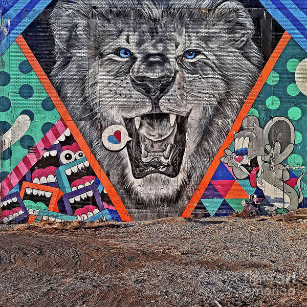Photograph - Detroit's Lion Mural by Walter Neal