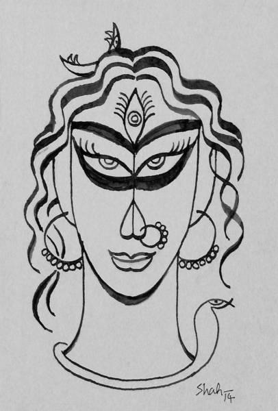 Hindu Goddess Drawing - Devi  by Shahraj M