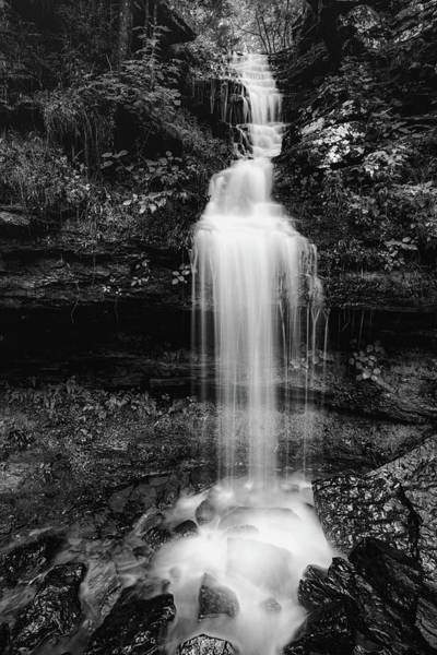 Photograph - Devils Den State Park Twin Falls Left - Ozark Mountains Monochrome by Gregory Ballos