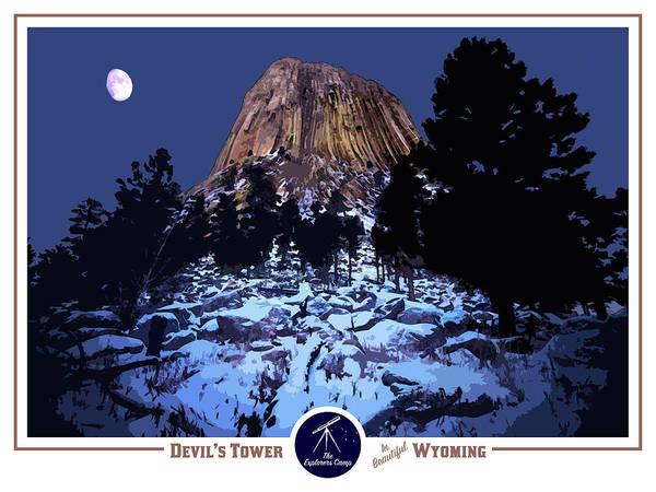 Teton National Park Digital Art - Devil's Tower Travel Poster by John Ulrich