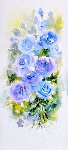 Wall Art - Painting - Dew Fresh Blue Roses by Asha Sudhaker Shenoy