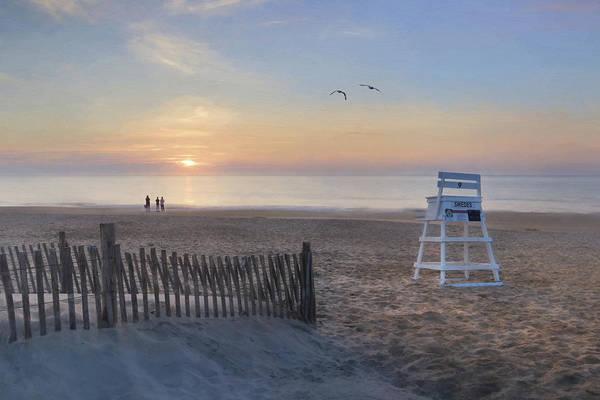 Seagulls Mixed Media - Dewey Beach Sunseekers by Lori Deiter