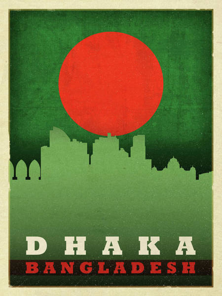Wall Art - Mixed Media - Dhaka Bangladesh World City Flag Skyline by Design Turnpike