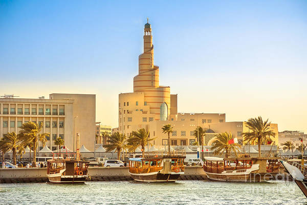 Photograph - Dhow Harbor And Doha Mosque by Benny Marty