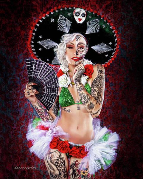 Dod Digital Art - Dia De Los Muertos Pin-up by Robert Alvarado
