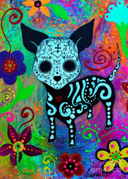Painting - Dia De Los Muertos Chihuahua Love by Pristine Cartera Turkus