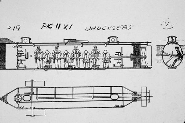 Pencil Drawing Photograph - Diagram Of The H. L. Hunley by Hulton Archive