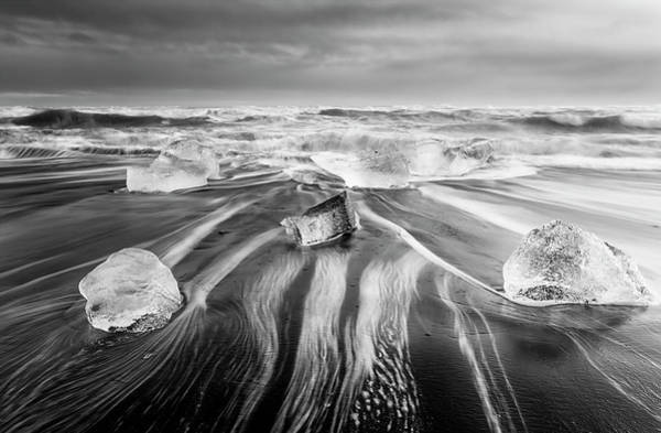 Photograph - Diamond Beach Iceland V Bw by Joan Carroll