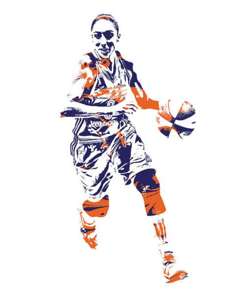 Wall Art - Mixed Media - Diana Taurasi Phoenix Mercury Pixel Art 1 by Joe Hamilton