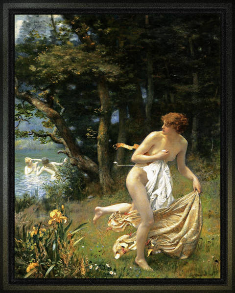 Painting - Dianas Maidens By Edward Robert Hughes by Xzendor7