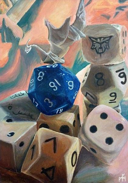 Origami Painting - Dice And Dragon by Mitry Anderson