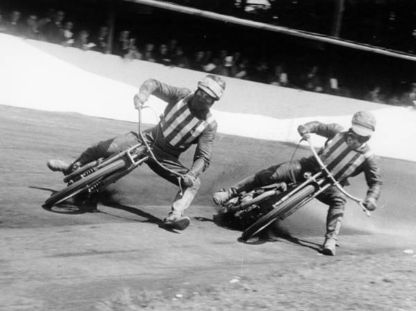 Motorcycle Racing Photograph - Dick Bradley On The Left And Alby by Heritage Images