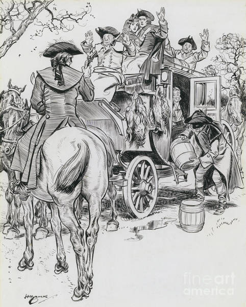Wall Art - Drawing - Dick Turpin, Rookwood by Henry Matthew Brock