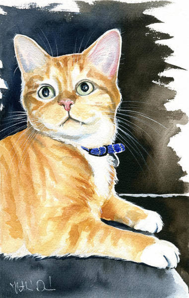 Painting - Diego Ginger Tabby Cat Painting by Dora Hathazi Mendes