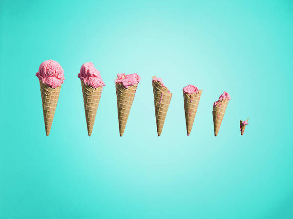 Cut-out Photograph - Different Stages Of Eaten Ice Creams by Jonathan Knowles