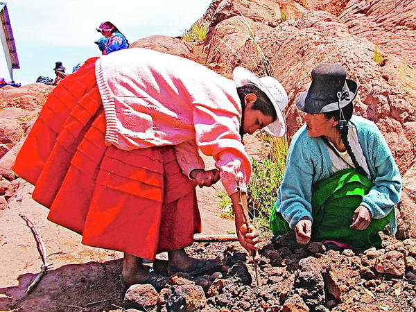 Wall Art - Photograph - Digging In The Coals For Baked Potatoes In Acora, Peru by Ruth Hager