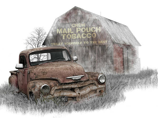 Photograph - Digital Art Of Rusted Chevy Pickup Truck In A Rural Landscape By by Randall Nyhof