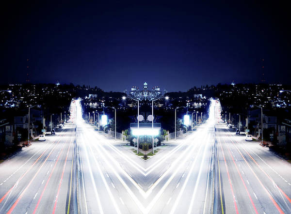 Digital Composite Of City Scape At Night Art Print