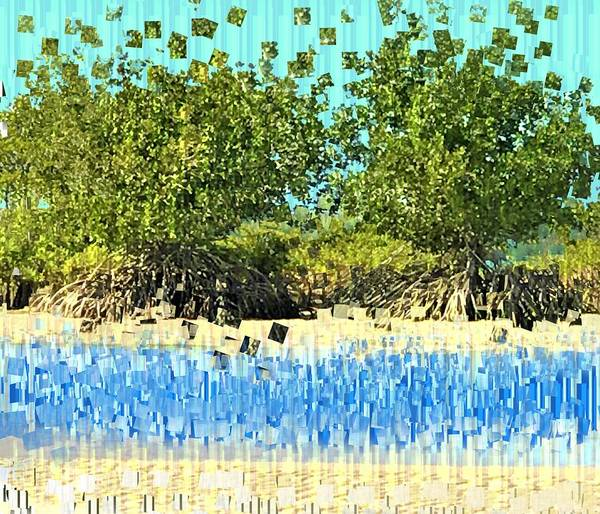 Wall Art - Mixed Media - Mangroves Pixelated by Joan Stratton