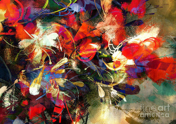 Wall Art - Digital Art - Digital Painting Of Abstract Bright by Tithi Luadthong