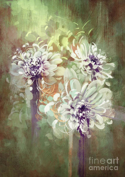 Flower Bouquet Wall Art - Digital Art - Digital Painting Of Abstract by Tithi Luadthong
