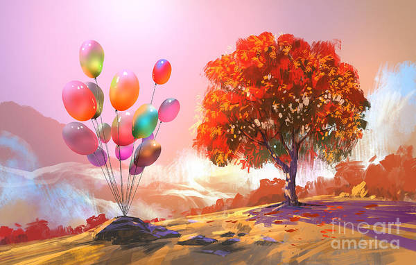 Wall Art - Digital Art - Digital Painting Of Colorful Balloons by Tithi Luadthong