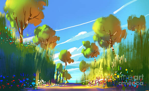 Wall Art - Digital Art - Digital Painting Of Colorful Forest And by Tithi Luadthong