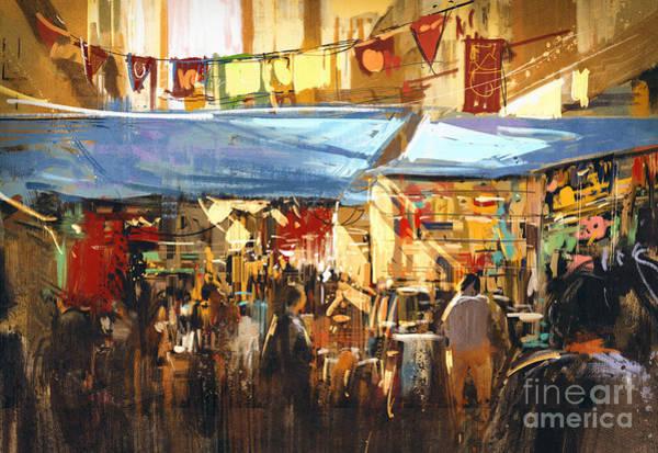 Wall Art - Digital Art - Digital Painting Of Colorful Street by Tithi Luadthong