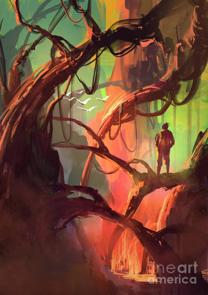 Mystery Digital Art - Digital Painting Of Fantasy Trees With by Tithi Luadthong