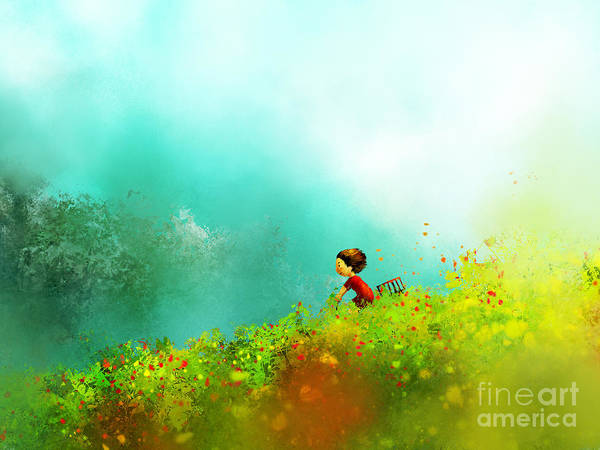 Wall Art - Digital Art - Digital Painting Of Girl In Red Dress by Archv