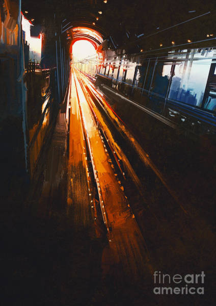 Wall Art - Digital Art - Digital Painting Of Railway Station by Tithi Luadthong