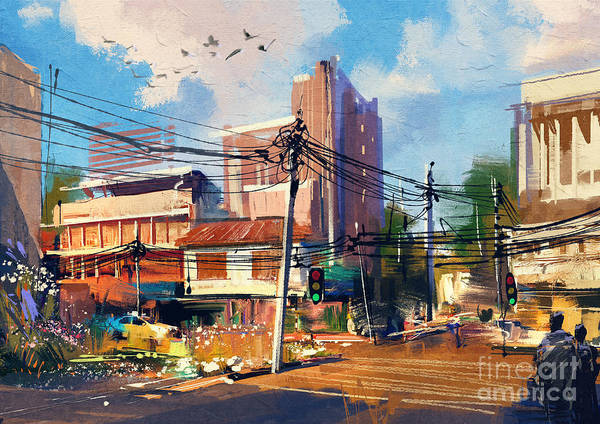 Exterior Wall Art - Digital Art - Digital Painting Of Street Scene With by Tithi Luadthong