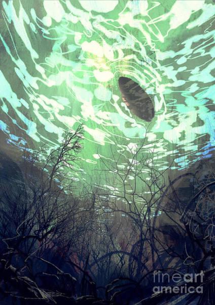 Wall Art - Digital Art - Digital Painting Of Underwater View by Tithi Luadthong