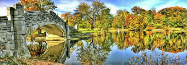 Wall Art - Photograph - Digital Painting Of Verona Bridge And Lake Pano Verona, New Jersey by Geraldine Scull