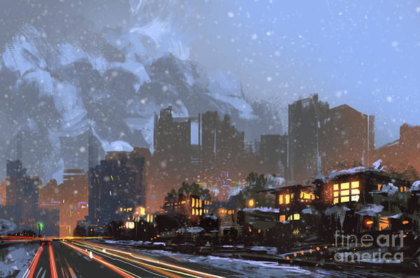 Wall Art - Digital Art - Digital Painting Of Winter City At by Tithi Luadthong
