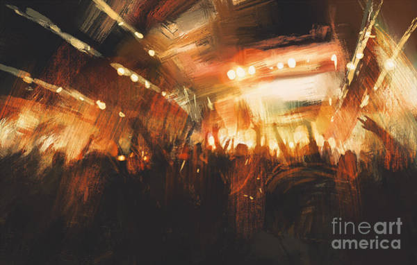 Wall Art - Digital Art - Digital Painting Showing Cheering Crowd by Tithi Luadthong