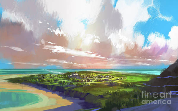Wall Art - Digital Art - Digital Painting Showing Coastal View by Tithi Luadthong