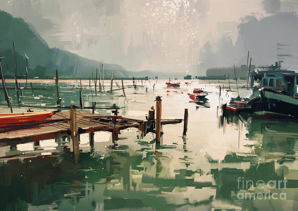 Wall Art - Digital Art - Digital Painting Showing Fishing Boats by Tithi Luadthong