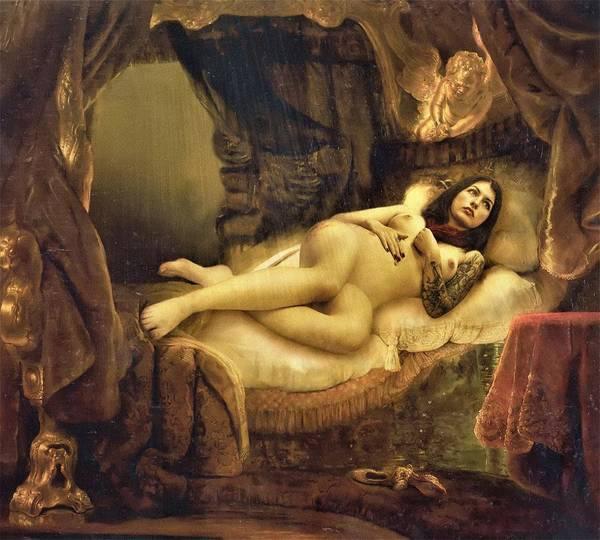 Wall Art - Painting - Digital Remake Edition - Danae by Rembrandt van Rijn