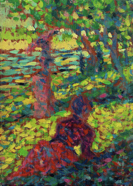 Wall Art - Painting - Digital Remaster Edition - Woman In A Park by Georges Seurat