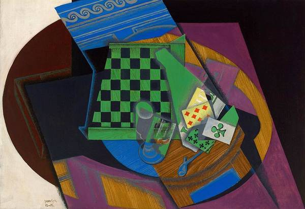 Wall Art - Painting - Digital Remastered Edition - Checker Board And Playing Cards by Juan Gris