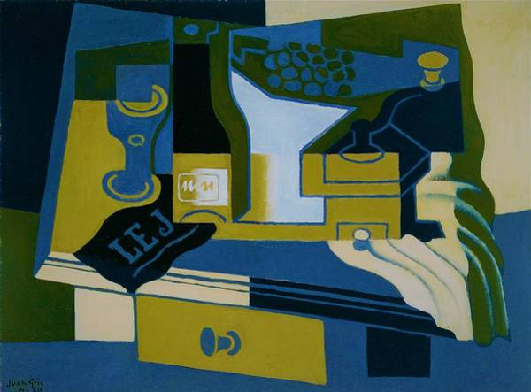 Wall Art - Painting - Digital Remastered Edition - Coffee Mill - Original Blue by Juan Gris
