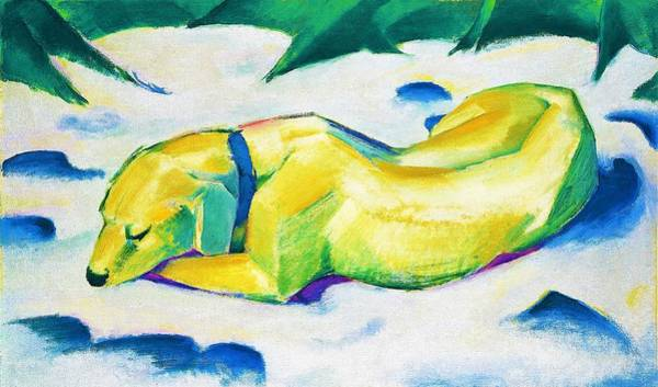 Franz Painting - Digital Remastered Edition - Dog Lying In The Snow by Franz Marc