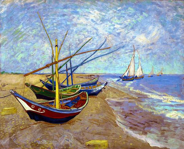 Fishing Boat Painting - Digital Remastered Edition - Fishing Boats On The Beach At Saintes-maries by Vincent van Gogh